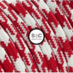Textus - Cavo Tondo Bianco Rosso con Rivestimento Tessile