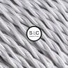 Cavo elettrico intrecciato in tessuto ad effetto seta lucido e brillante in colore Bianco