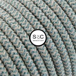 Textus - Cavo Tondo Zig Zag Sabbia Salvia con Rivestimento Tessile