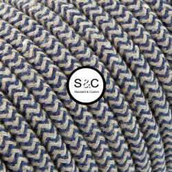 Textus - Cavo Tondo Zig Zag Sabbia Jeans con Rivestimento Tessile